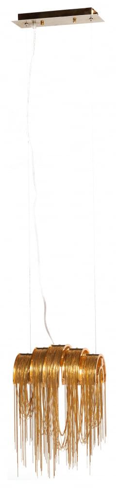 Подвесной светильник СabelotteПодвесные светильники<br>Необыкновенный и оригинальный подвесной <br>светильник, который, кажется, завис в воздухе, <br>просто притягивает взгляд. Он станет роскошным <br>источником освещения для небольших помещений <br>или отдельных зон. Светильник СABELOTTE выполнен <br>из множества ниспадающих металлических <br>нитей, напоминающих водопад. Шикарный золотой <br>цвет создает солнечное настроение в помещении. <br>Светильник выполнен в стиле модерн, однако <br>будет уместен в интерьерах самых разных <br>стилевых решений от классики, арт-деко до <br>современных тенденций. Предназначен для <br>использования со светодиодными лампами, <br>длина провода 140 см. Купите в нашем магазине <br>потрясающий светильник СABELOTTE — он придаст <br>особый уют и тепло вашей комнате. Приглушенный <br>свет, который он излучает, создаст атмосферу <br>интимности, покоя и умиротворения.<br><br>Цвет: Золото<br>Материал: Металл<br>Вес кг: 3,2<br>Длина см: 29<br>Ширина см: 20<br>Высота см: 14