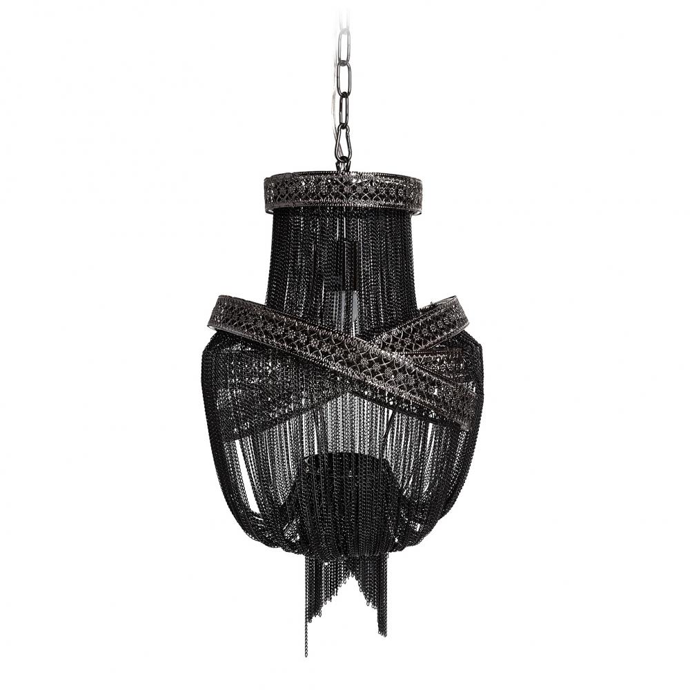 Люстра Guadarta Nero, DG-LL171Люстры<br>Миниатюрная красавица, состоящая из множества <br>металлических цепочек черного цвета, украсит <br>собой небольшое пространство гостиной <br>или спальни различных стилевых решений. <br>Потолочная люстра GUADARTA NERO изысканной формы <br>и нетривиального исполнения сочетает в <br>себе эффектную асимметрию, объем, динамику <br>и глубокий черный цвет. При этом цепочки <br>из алюминия пропускают свет и люстра достаточно <br>хорошо освещает небольшие помещения. Предназначена <br>для использования со светодиодными лампами, <br>длина провода 80 см.<br><br>Цвет: Чёрный<br>Материал: Металл<br>Вес кг: 4.2<br>Длинна см: 38<br>Ширина см: 47<br>Высота см: 47