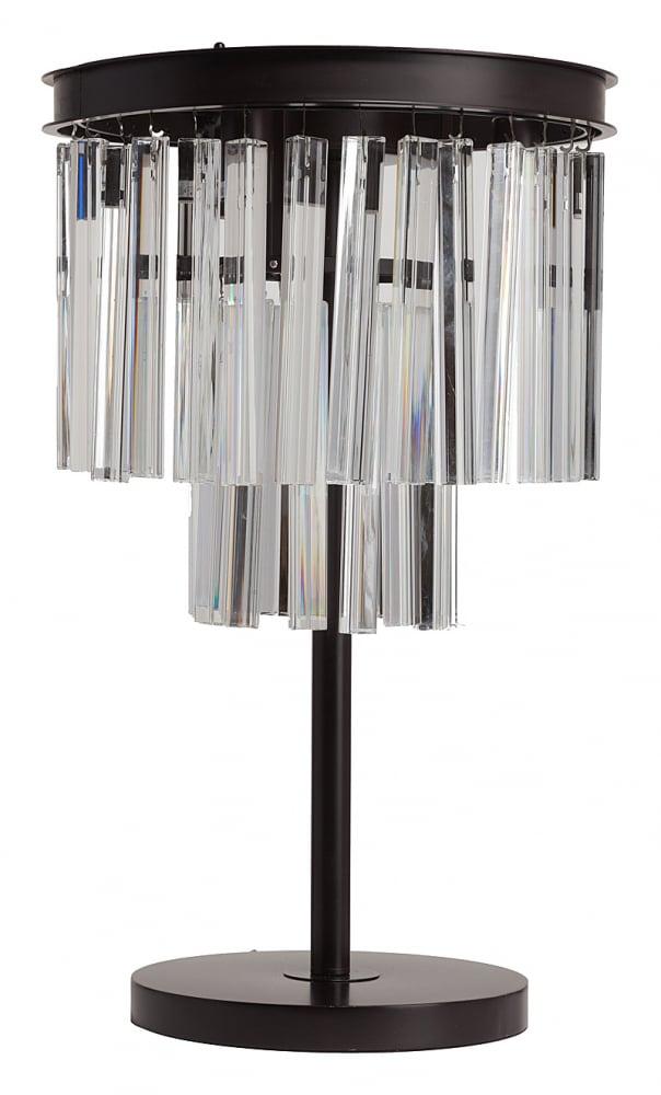 Настольная лампа Odeon FringeНастольные лампы<br>Стильная настольная лампа ODEON FRINGE с прекрасными <br>хрустальными подвесками. Красивая и изящная <br>настольная лампа идеально впишется в интерьер <br>любого помещения. Изделие имеет тонкую <br>основу из качественного металла и абажур, <br>украшенный множеством хрустальных подвесок. <br>Благодаря этому ваша гостиная будет залита <br>приятным мягким светом с изумительными <br>отблесками от хрусталя. Предназначена для <br>использования со светодиодными лампами, <br>длина провода 130 см.<br><br>Цвет: Чёрный, Прозрачный<br>Материал: Металл, Хрусталь<br>Вес кг: 3,1<br>Длина см: 36<br>Ширина см: 36<br>Высота см: 65