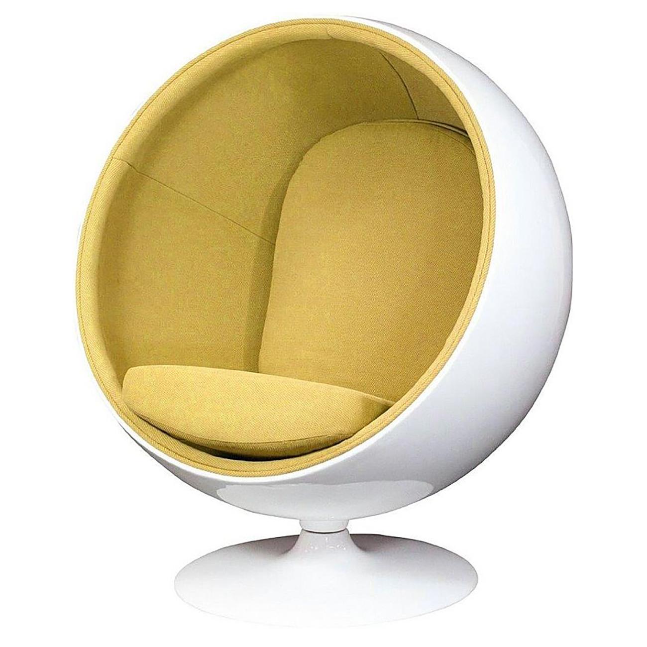 Купить Кресло Eero Ball Chair Бело-горчичное Шерсть в интернет магазине дизайнерской мебели и аксессуаров для дома и дачи