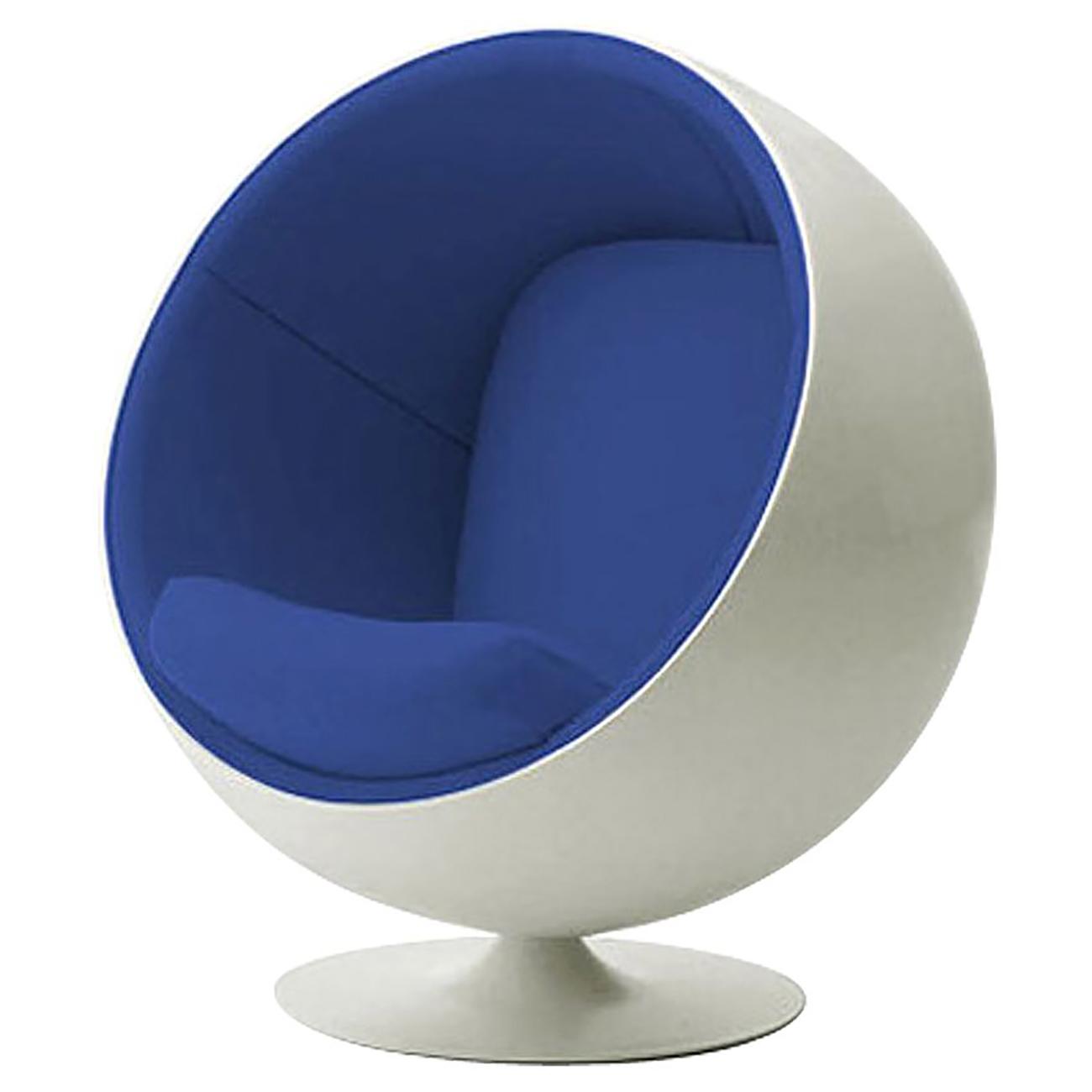 Купить Детское кресло Eero Ball Chair Бело-синее в интернет магазине дизайнерской мебели и аксессуаров для дома и дачи