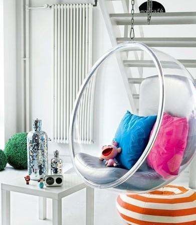 Кресло подвесное Bubble Chair Серебряная Экокожа