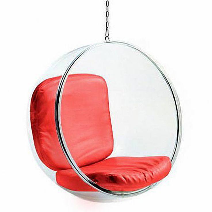 Кресло подвесное Bubble Chair Красная Экокожа
