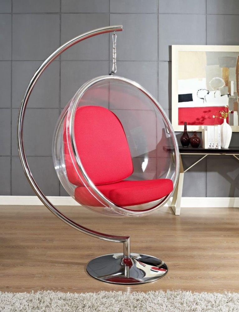 Кресло Bubble Chair with Stand Красная Экокожа