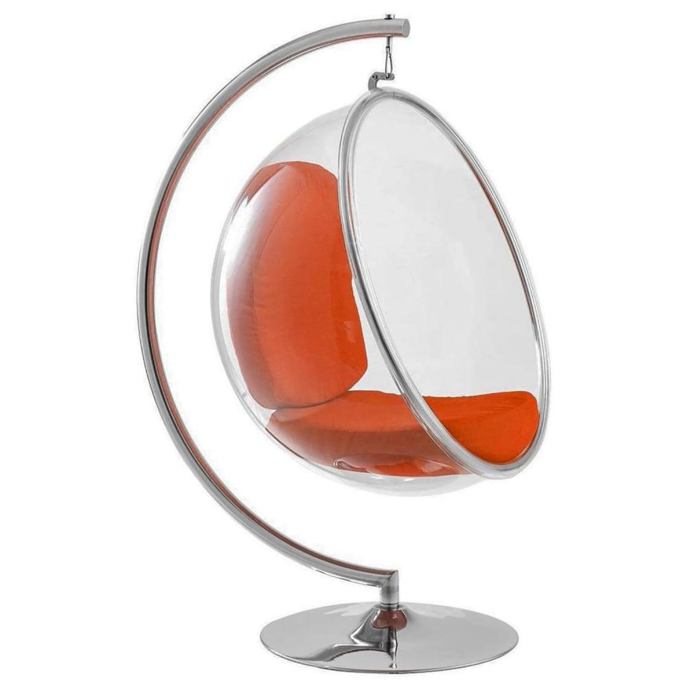 Кресло Bubble Chair with Stand Оранжевая ЭкокожаКресла<br>Hanging Bubble Chair — это стильное подвесное кресло, <br>выполненное из акрила в виде половинки <br>прозрачного шара, внутри кресло-пузырь <br>имеет мягкую цветную вкладку, обтянутую <br>экокожей, которую всегда можно заменить <br>на другую. В нашем магазине они доступны <br>в разных цветах. Внешне это элегантное кресло <br>выглядит довольно хрупким, но материал, <br>из которого оно изготовлено, очень прочный, <br>так что опасаться за собственное здоровье <br>в такой мебели не стоит. Прекрасно впишется <br>в стильный современный интерьер. Кресло <br>Hanging Bubble Chair подойдет как для городского, <br>так и для загородного жилья, его можно устанавливать <br>в просторных комнатах квартиры или выносить <br>на террасу загородного дома. Купите превосходно <br>исполненную реплику дизайнерского кресла <br>Hanging Bubble Chair для своего дома — это произведет <br>незабываемое впечатление на ваших гостей.<br><br>Цвет: Оранжевый, Прозрачный<br>Материал: Пластик, Экокожа, Металл<br>Вес кг: 40<br>Длина см: 106<br>Ширина см: 107<br>Высота см: 170