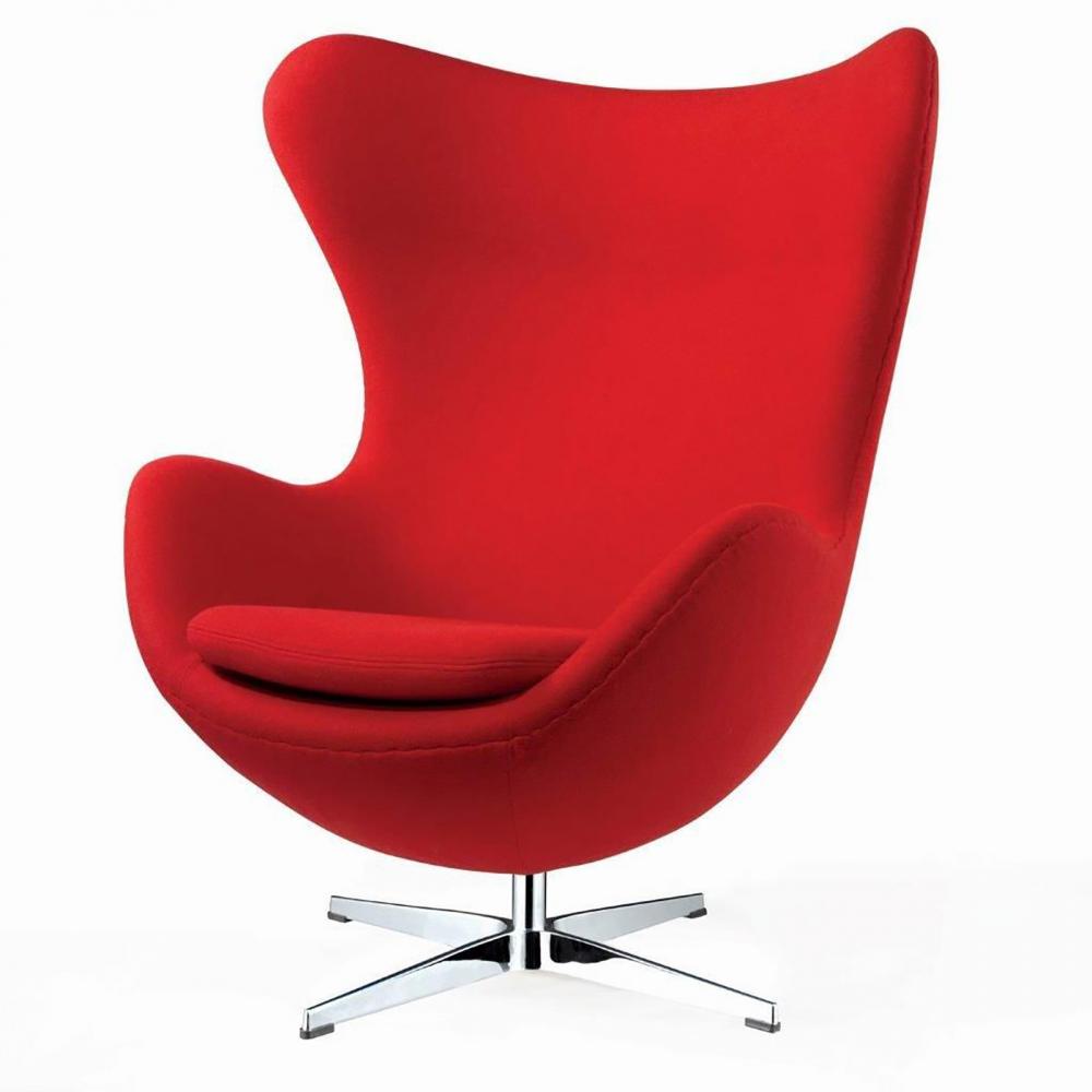 Фото Кресло Egg Chair Красное 100% Кашемир. Купить с доставкой