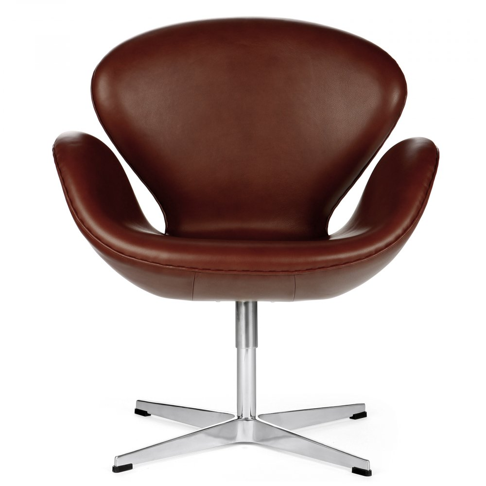 Кресло Swan Chair Коричневое Натуральная КожаКресла<br>Кресло Swan Chair (Лебедь), созданное датским <br>дизайнером Арне Якобсеном (Arne Jacobsen) в 1958 <br>г., стало настоящей сенсацией для своего <br>времени, было достаточно инновационным, <br>т.к. вместо прямых линий предпочтение было <br>отдано округлым формам. Мебель этого дизайнера <br>давно вошла в историю мебелестроения и <br>стало шедевром, мировым достоянием искусства. <br>Элегантная анатомическая форма и небольшие <br>размеры делают его привлекательным элементом <br>оформления любого интерьера и по сей день. <br>Небольшое, но очень уютное кресло смотрится <br>современно и украсит гостиную или рабочий <br>кабинет. Идеально сочетается с предметами <br>мебели в стиле хай-тек. Каркас кресла представляет <br>собой раковину из стекловолокна, покрытую <br>пенополиуретаном. Сидение крепится на вращающемся <br>крестообразном основании из нержавеющей <br>стали. Обивка кресла сделана из натуральной <br>кожи. В нашем магазине можно приобрести <br>отличную реплику кресла Swan Chair в нескольких <br>вариантах обивки.<br><br>Цвет: Коричневый<br>Материал: Кожа, Металл<br>Вес кг: 25<br>Длина см: 71<br>Ширина см: 60<br>Высота см: 78