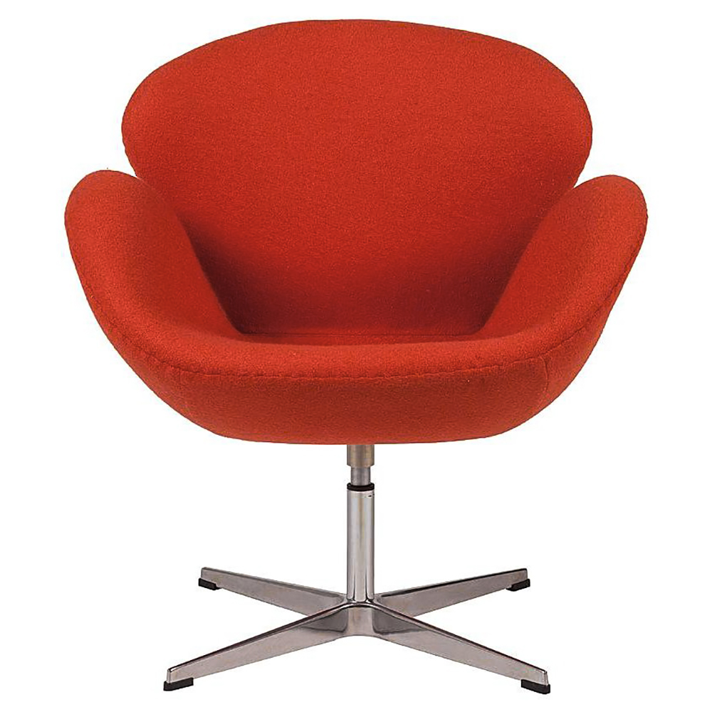 Кресло Swan Chair Красная ШерстьКресла<br>Кресло Swan Chair (Лебедь), созданное датским <br>дизайнером Арне Якобсеном (Arne Jacobsen) в 1958 <br>г., стало настоящей сенсацией для своего <br>времени, было достаточно инновационным, <br>т.к. вместо прямых линий предпочтение было <br>отдано округлым формам. Мебель этого дизайнера <br>давно вошла в историю мебелестроения и <br>стало шедевром, мировым достоянием искусства. <br>Элегантная анатомическая форма и небольшие <br>размеры делают его привлекательным элементом <br>оформления любого интерьера и по сей день. <br>Небольшое, но очень уютное кресло смотрится <br>современно и украсит гостиную или рабочий <br>кабинет. Идеально сочетается с предметами <br>мебели в стиле хай-тек. Каркас кресла представляет <br>собой раковину из стекловолокна, покрытую <br>пенополиуретаном. Сидение крепится на вращающемся <br>крестообразном основании из нержавеющей <br>стали. Обивка кресла сделана из шерстяной <br>ткани. В нашем магазине можно приобрести <br>отличную реплику кресла Swan Chair в нескольких <br>вариантах обивки.<br><br>Цвет: Красный<br>Материал: Шерсть, Металл<br>Вес кг: 25<br>Длина см: 71<br>Ширина см: 70<br>Высота см: 78