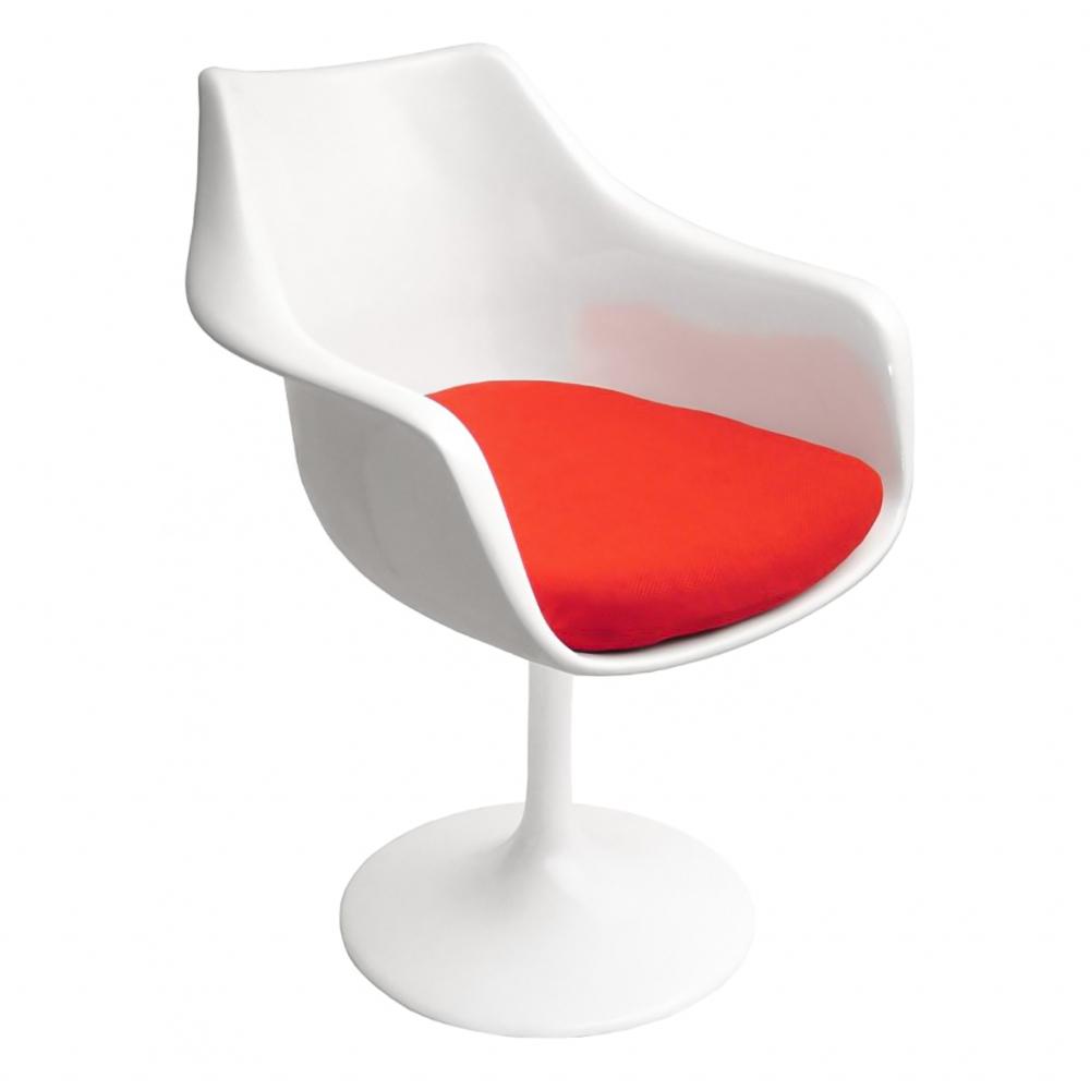 Фото Кресло Tulip Armchair Бело-красное Шерсть. Купить с доставкой