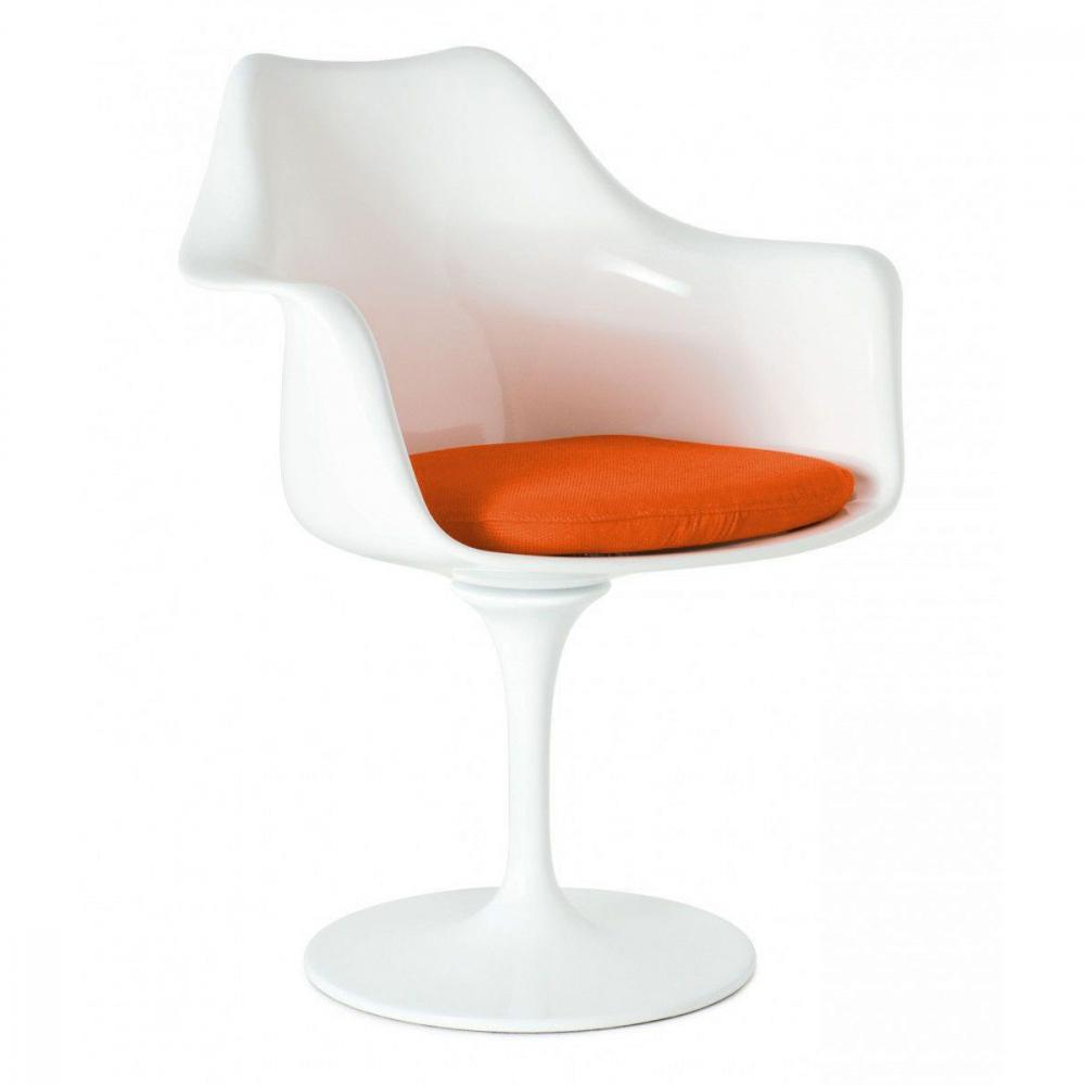Фото Кресло Tulip Armchair Бело-оранжевое Шерсть. Купить с доставкой