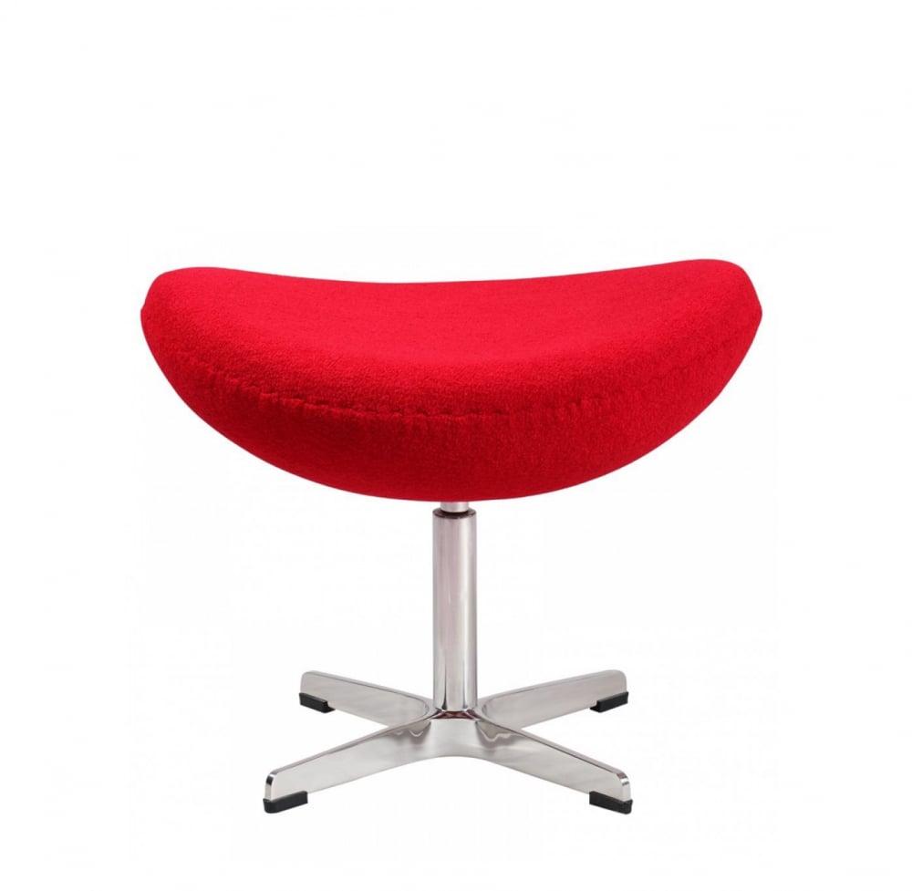 Оттоманка Egg Ottoman Красная 100% КашемирПуфы и оттоманки<br>Лаконичная и удобная оттоманка Egg Ottoman на <br>устойчивом металлическом основании, имеет <br>приятную обивку из кашемира яркого красного <br>цвета, которая дарит приятные ощущения, <br>она достаточно плотная, устойчива к протиранию, <br>легко чистится. Данная модель оттоманки <br>является логическим продолжением дизайнерского <br>кресла Egg. При этом ее можно использовать <br>вполне самостоятельно, либо эффектно дополнить <br>ею знаменитое кресло. Крестообразные металлические <br>ножки из нержавеющей стали переходят в <br>основание, которое служит надежной поддержкой <br>сидению. Обивка из 100% кашемира. Великолепные <br>реплики дизайнерской оттоманки Egg Ottoman у <br>нас можно приобрести в нескольких вариантах <br>цвета и материала.<br><br>Цвет: Красный<br>Материал: Ткань, Стекловолокно, Металл<br>Вес кг: 3,5<br>Длина см: 55<br>Ширина см: 42<br>Высота см: 45