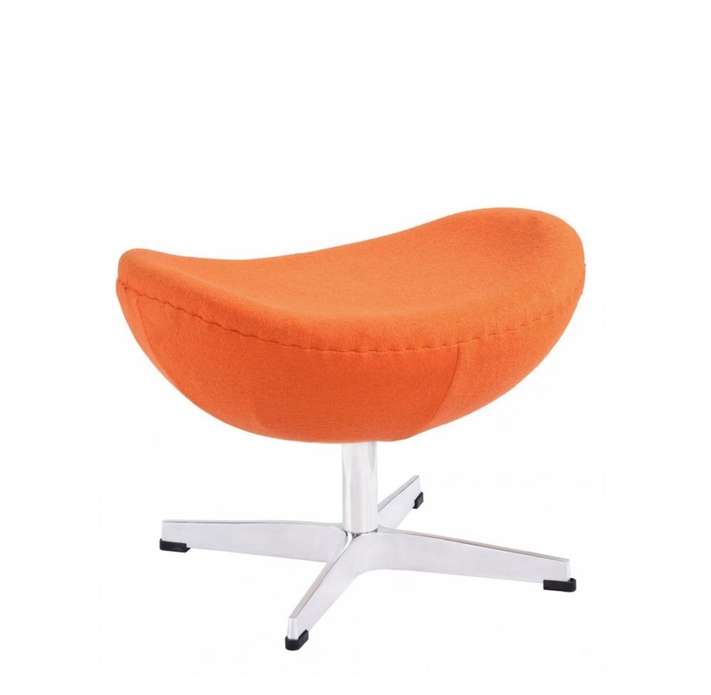 Оттоманка Egg Ottoman Оранжевая Кашемир , DG-F-PF116-2Пуфы и оттоманки<br>Лаконичная и удобная оттоманка Egg Ottoman на устойчивом металлическом основании, имеет приятную обивку из кашемира яркого оранжевого цвета, которая дарит приятные ощущения, она достаточно плотная, устойчива к протиранию, легко чистится. Данная модель оттоманки является логическим продолжением дизайнерского кресла Egg. При этом ее можно использовать вполне самостоятельно, либо эффектно дополнить ею знаменитое кресло. Крестообразные металлические ножки из нержавеющей стали переходят в основание, которое служит надежной поддержкой сидению. Обивка из кашемира <br>Великолепные реплики дизайнерской оттоманки Egg Ottoman у нас можно приобрести в нескольких вариантах цвета и материала.<br><br>Цвет: Оранжевый<br>Материал: Ткань, Стекловолокно, Металл<br>Вес кг: 3.5<br>Длинна см: 44<br>Ширина см: 60<br>Высота см: 47
