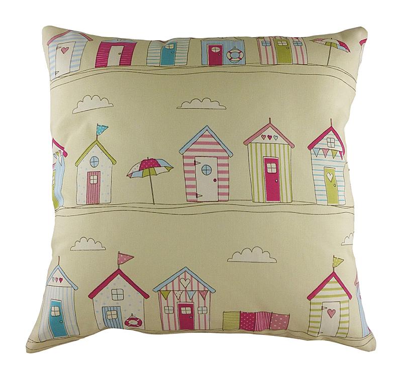 Подушка с принтом Beach Huts Pink