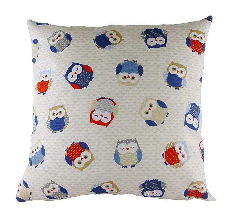 Подушка с принтом Owl Print Blue