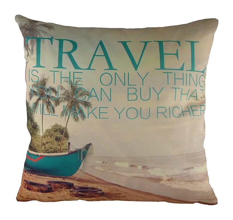 Подушка с принтом TravelПодушки<br>Что такое путешествие? Это удивительная <br>вещь, которую вы покупаете, а она делает <br>вас богаче. Ведь разве можно оценить все <br>неизгладимые впечатления, моменты, картины, <br>которые останутся в вашей памяти навсегда? <br>А еще путешествие — это нежная подушка <br>TRAVEL, на которой изображен необитаемый остров, <br>море, пальмы и лодка. Куда она унесет вас <br>во время сладкого сна?<br><br>Цвет: Зелёный, Бежевый<br>Материал: Полиэстер, Хлопок<br>Вес кг: 0,5<br>Длина см: 43<br>Ширина см: 43<br>Высота см: 6