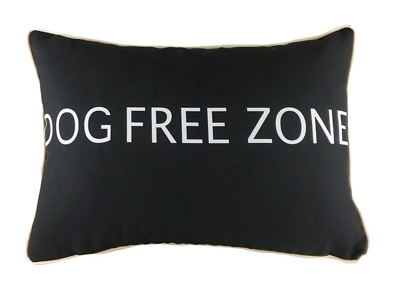 Подушка с надписью Dog Free Zone