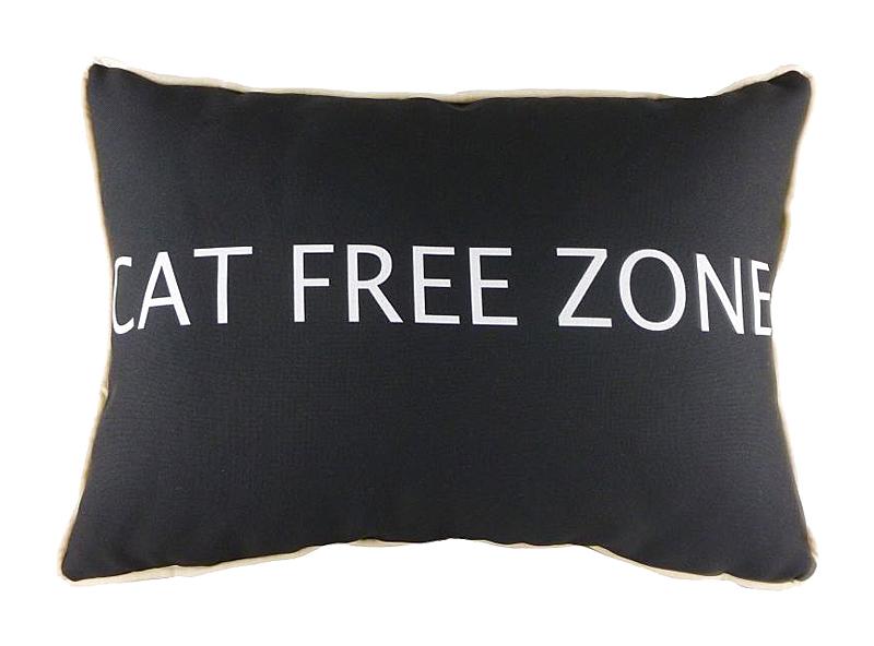 Подушка с надписью Cat Free Zone