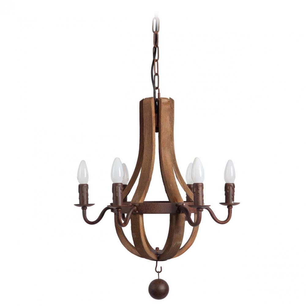 Люстра Terracotta Designs ElenaЛюстры<br>Люстра TERRACOTTA DESIGNS ELENA будет гармонично смотреться <br>в помещениях в стиле винтаж, лофт, скандинавский, <br>модерн и т.д. Она сделана из коричневого <br>дерева и металла, окрашенного коричневой <br>краской под старинную бронзу. Для установки <br>ламп предусмотрены также коричневые патроны, <br>выполненные в виде восковых свечей. В этой <br>люстре потрясающе сочетаются простота <br>и оригинальность!<br><br>Цвет: коричневый, бронза<br>Материал: Металл, Дерево<br>Вес кг: 2,1<br>Длина см: 45<br>Ширина см: 45<br>Высота см: 59