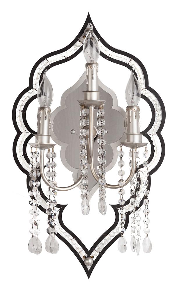 Бра Classico DG-HOME Настенные дизайнерские бра CLASSICO — это  элементы декора самого высокого класса,  которые наполнят пространство комнаты  мягким светом и таинственной красотой.  Бра сделано из металла, окрашенного в чёрно-серый  цвет под старинное серебро, прекрасно декорировано  гирляндами хрустальных подвесок. Также  такие светильники займут совсем немного  места.
