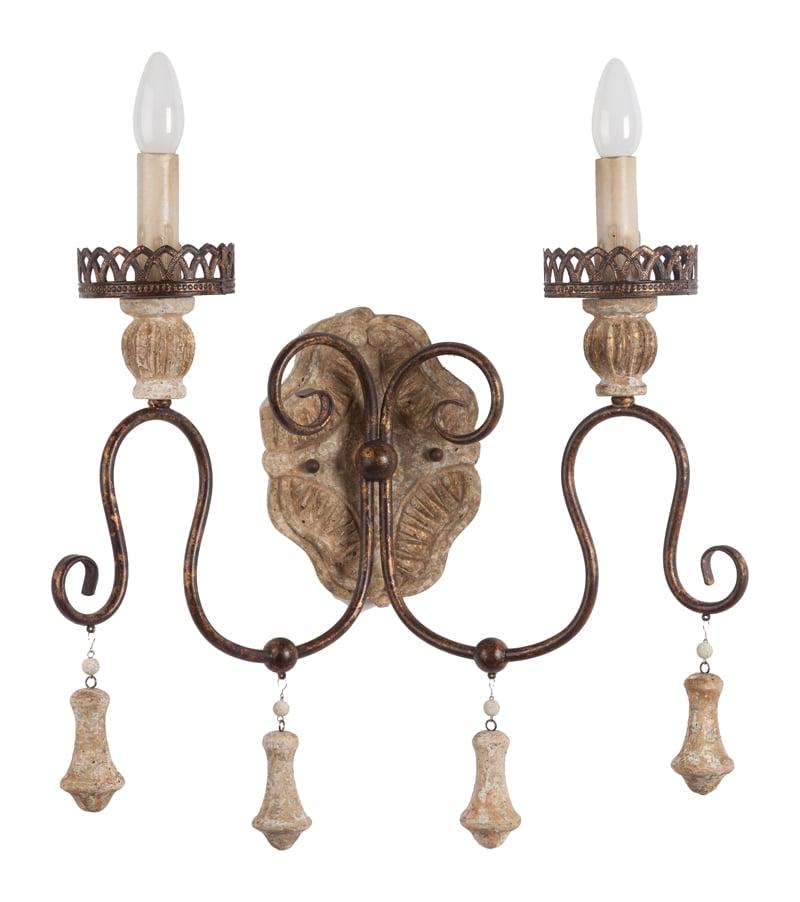 Бра Janinn DG-HOME Настенный светильник JANINN стилизованный  в виде канделябра. Держатель ламп-подсвечников  и крепление к стене — металлические, бронзового  цвета. Винтажные стойки декорированы подвесками  в бежевом цвете. Светильник впишется в любой  интерьер гостиной.