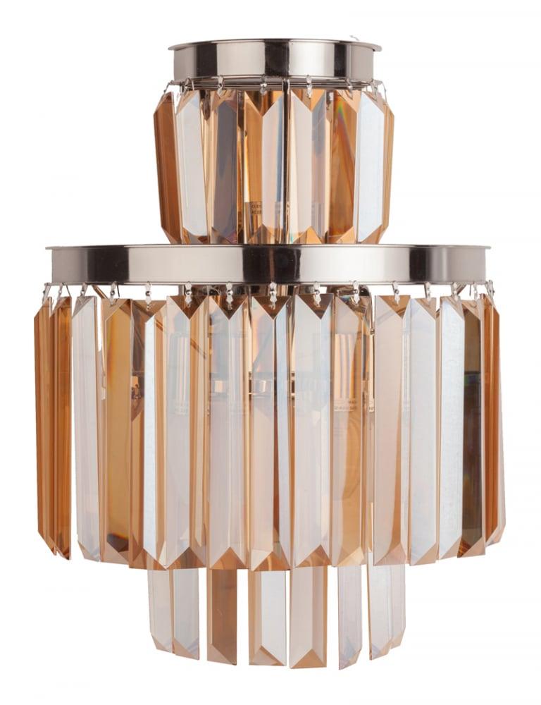 Настенный светильник Saliel Medio DG-HOME Современный настенный светильник SALIEL,  благодаря своей форме, создает оригинальное  рассеивание света. Дизайн светильников  коллекции SALIEL поразит воображение самого  искушенного зрителя. Материалы высокого  качества (никелированный металл, цветные  хрустальные подвески), безупречное исполнение  и оригинальное стилевое решение светильника  Saliel помогут вам выразить собственное представление  о прекрасном и создать уникальный и интересный  интерьер. Приобретенные в нашем интернет-магазине  настенные светильники станут прекрасным  дополнением к люстре из коллекции Saliel.