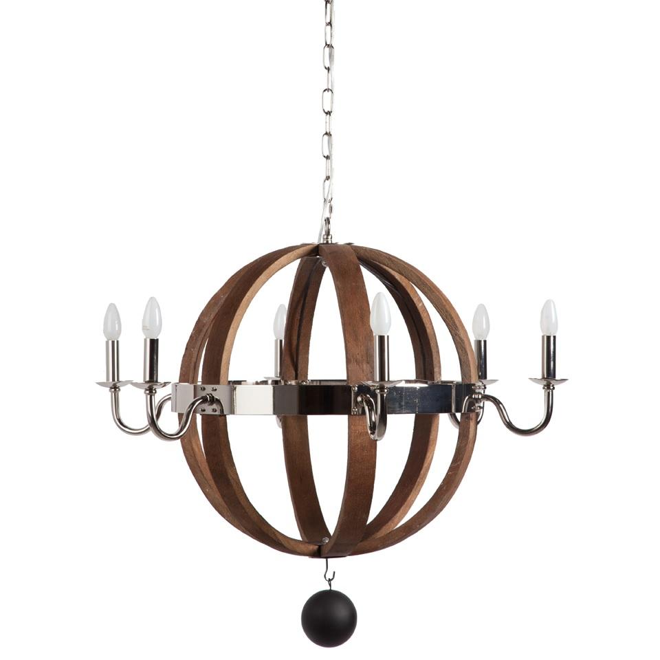 Люстра Versailles DG-HOME С виду простая, но очень оригинальная люстра  VERSAILLES выполнена в виде шести деревянных  обручей, скрепленных посередине металлическим  никелированным ободом. По окружности обода,  напротив каждого обруча, расположены держатели  ламп в виде подсвечников. Коричневый цвет  состаренного дерева люстры подойдет ко  многим интерьерам, особенно если в помещении  есть мебель из натурального дерева. Добавьте  блеска для вашего дома с люстрой VERSAILLES.