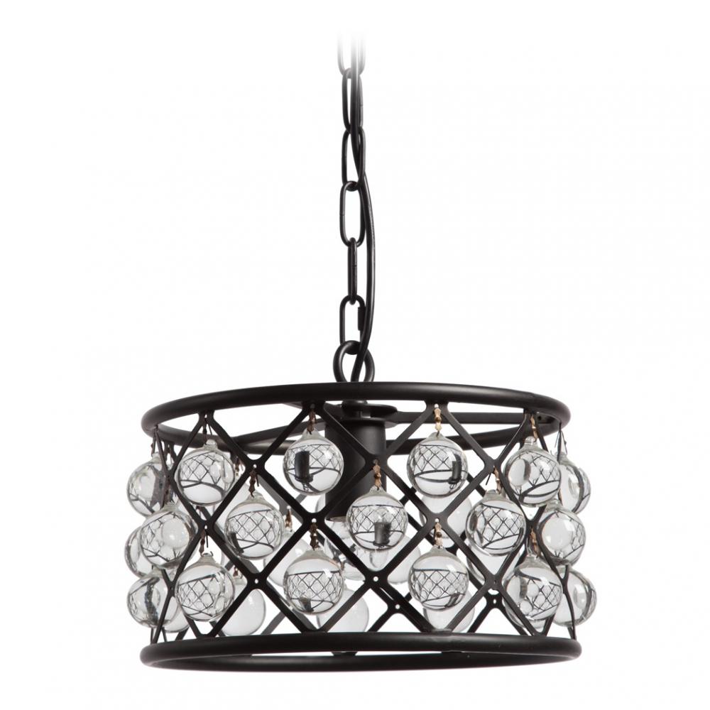 Люстра MercerЛюстры<br>Оригинальная современная люстра MERCER с <br>рассеивателем из стеклянных шариков, расположенных <br>по окружности металлического каркаса, несомненно <br>станет украшением любого помещения. Великолепная <br>люстра, в которой шарики из стекла подсвечиваются <br>изнутри, одновременно дает и рассеянный, <br>и направленный свет, который оживит и классические, <br>и современные интерьеры Люстра подойдет <br>и для общественных, и для частных интерьеров.<br><br>Цвет: Чёрный, Прозрачный<br>Материал: Металл, Стекло<br>Вес кг: 7<br>Длина см: 30<br>Ширина см: 30<br>Высота см: 21