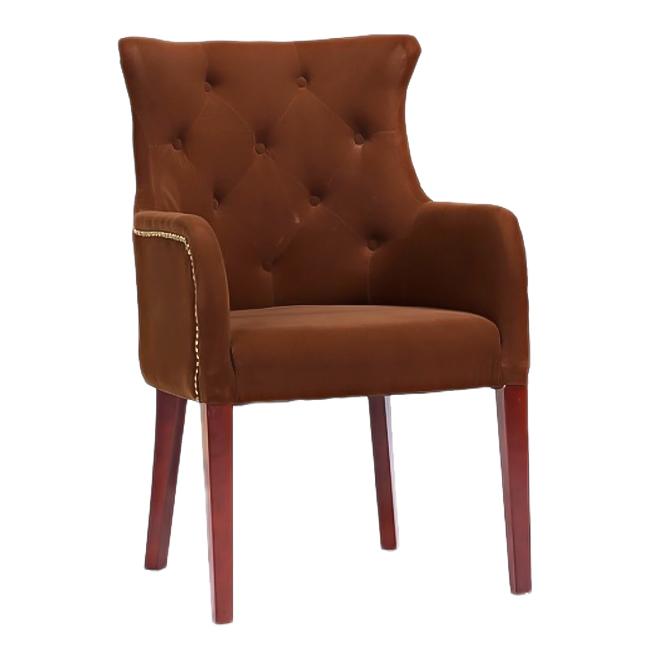 Кресло Rochester КоричневоеКресла<br>Велюр<br><br>Цвет: Коричневый<br>Материал: Ткань, Дерево<br>Вес кг: 31,2<br>Длина см: 65<br>Ширина см: 68<br>Высота см: 98