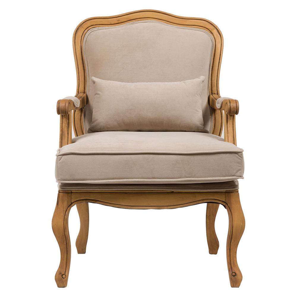 Кресло Bella Cera Бежевый ВельветКресла<br>Роскошное кресло Bella Cera — прекрасное дополнение <br>к интерьеру в стиле в стиле Прованс. Резные <br>подлокотники и изогнутые ножки с эффектом <br>искусственного состаривания придают креслу <br>величественный образ, а вельветовая обивка <br>бежевого цвета подчеркивает его стиль и <br>красоту, уместные и в современном городском, <br>и в загородном доме. Мягкое сиденье и удобная <br>спинка кресла позволят вам в полной мере <br>насладиться времяпрепровождением в нем. <br>Купите его прямо сейчас!<br><br>Цвет: Бежевый<br>Материал: Ткань, Дерево, Поролон<br>Вес кг: 14<br>Длина см: 68<br>Ширина см: 68<br>Высота см: 95