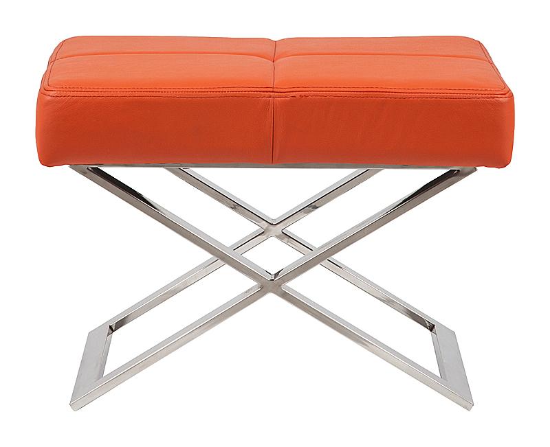 Табурет Aster X Stool Оранжевая Кожа Класса Премиум DG-HOME Классический табурет-оттоманка с весьма  лаконичным дизайном Aster X превосходно дополнит  убранство вашего помещения, а также обеспечит  дополнительный комфорт. Сиденье из поролона  покрыто натуральной кожей яркого оранжевого  цвета, металлический каркас и скрещенные  в форме X ножки из нержавеющей стали придают  табурету весьма хорошую устойчивость. Табурет  Aster X может служить как дополнением к креслу,  так и выступать в роли самостоятельного  пуфа.