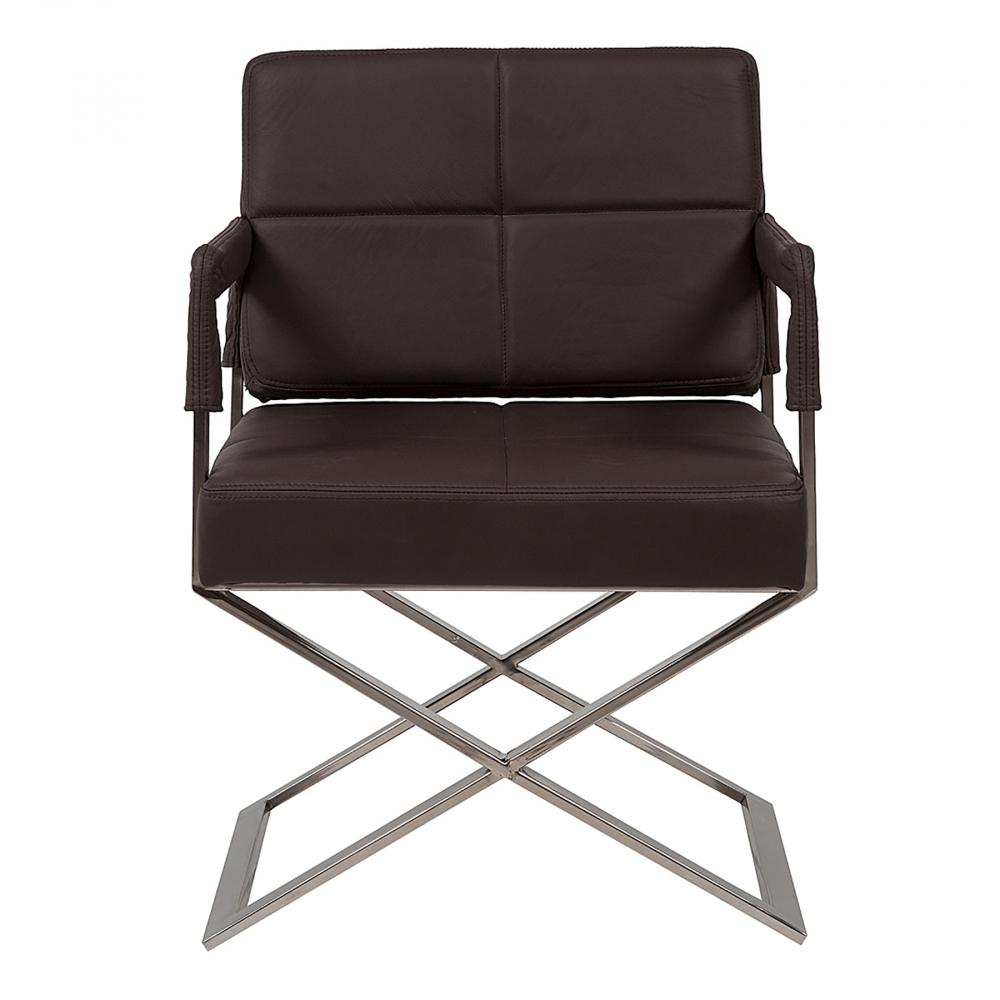 Кресло Aster X Chair Темно-коричневая Кожа Класса  Премиум DG-HOME Великолепный футуристический стиль дизайнерского  кресла для дома Aster X Chair заставляет остановить  на нем взгляд. Массивное сиденье и изящная  металлическая основа с ножками из нержавеющей  стали создает впечатление того, что вся  конструкция кресла парит в воздухе. Благодаря  своему нестандартному дизайну, кресло Aster  X Chair замечательно вольется в любой интерьер.  Выполненное из материалов высокого качества,  кресло будет долго служить вам, не изнашиваясь  и не теряя своего первоначального внешнего  вида. Вы сами можете выбрать материал обивки  кресла Aster X Chair из предоставленных в нашем  интернет-магазине текстиля, экокожи приятной  фактуры и натуральной кожи нежнейшей выделки.  Очень стильное и удобное кресло!