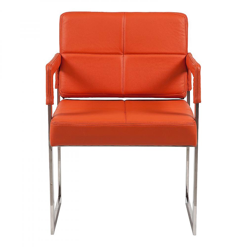 Кресло Aster Chair Оранжевая Кожа Класса Премиум DG-HOME Кресло Aster Chair от знаменитого французского  дизайнера Жан-Мари Массо (Jean-Marie Massaud) поистине  достойно внимания ценителей стильной мебели.  Это кресло — отличный выбор для любителей  современного стиля и эстетики хай-тек. Он  будет отлично смотреться как в гостиной  в паре с другим таким же креслом и журнальным  столиком, так и в рабочем кабинете или офисе.  Квадратные ножки стула выполнены из нержавеющей  стали, а сиденье и спинка, закрепленные  на деревянном каркасе, — мягкие, обиты натуральной  кожей оранжевого цвета. Купите великолепную  реплику кресла Aster Chair, благодаря такому  дизайну оно гармонично дополнит любой интерьер.