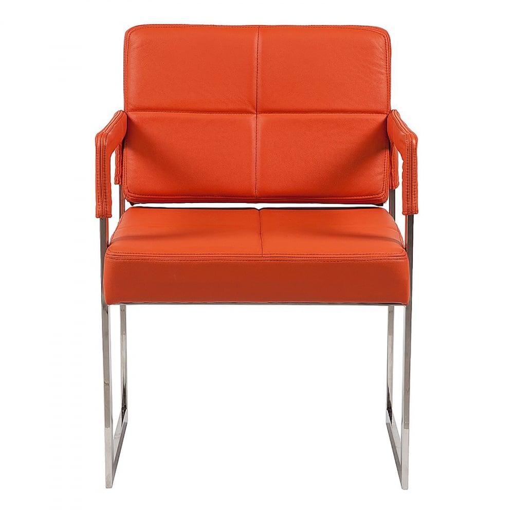 Кресло Aster Chair Оранжевая Кожа Класса Премиум, • DG-F-ACH311-1