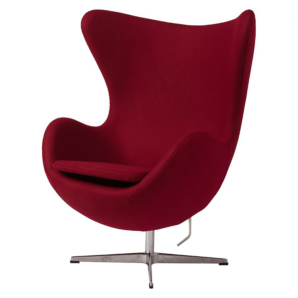 Кресло Egg Chair Бордовое 100% КашемирКресла<br>Кресло Egg Chair (Яйцо) было создано в 1958 году <br>датским дизайнером Арне Якобсеном специально <br>для интерьеров отеля Radisson SAS в Копенгагене. <br>Кресло обладает исключительной привлекательностью <br>и узнаваемостью во всем мире, занимает особое <br>место в ряду культовой дизайнерской мебели <br>XX века. Оно имеет экстравагантную форму <br>и неординарное исполнение, что позволило <br>ему стать совершенным воплощением классики <br>нового времени. Кресло Egg Chair, выполненное <br>в форме яйца, обтянутое 100% кашемировой тканью <br>бордового цвета, подарит огромное множество <br>положительных эмоций и заставляет обращать <br>на него внимание. Оно непременно задаёт <br>основу для дизайна того или иного помещения. <br>Прочный и массивный каркас гарантирует <br>долгий срок службы и устойчивость. Купите <br>великолепную реплику кресла Egg Chair — изготовленное <br>из высококачественных материалов, оно понравится <br>многим любителям нестандартного видения <br>обыденных и, притом, качественных вещей.<br><br>Цвет: Бордовый<br>Материал: Кашемир, Металл<br>Вес кг: 37<br>Длина см: 82<br>Ширина см: 76<br>Высота см: 105