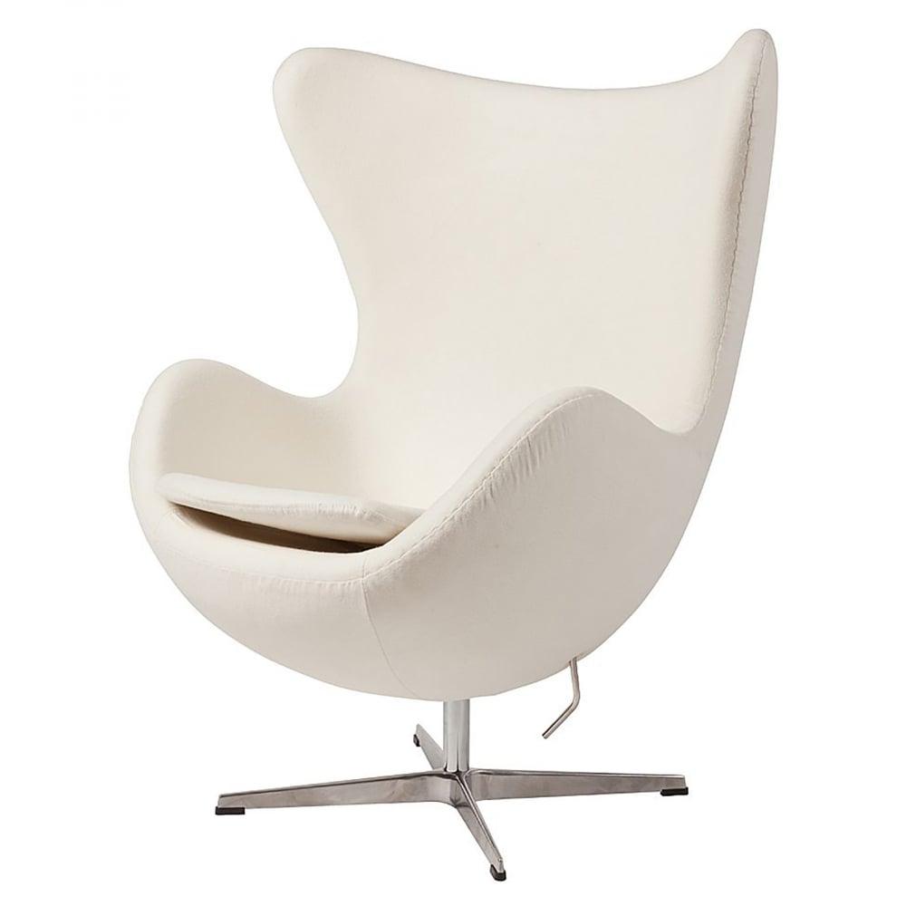 Фото Кресло Egg Chair Белое 100% Кашемир. Купить с доставкой