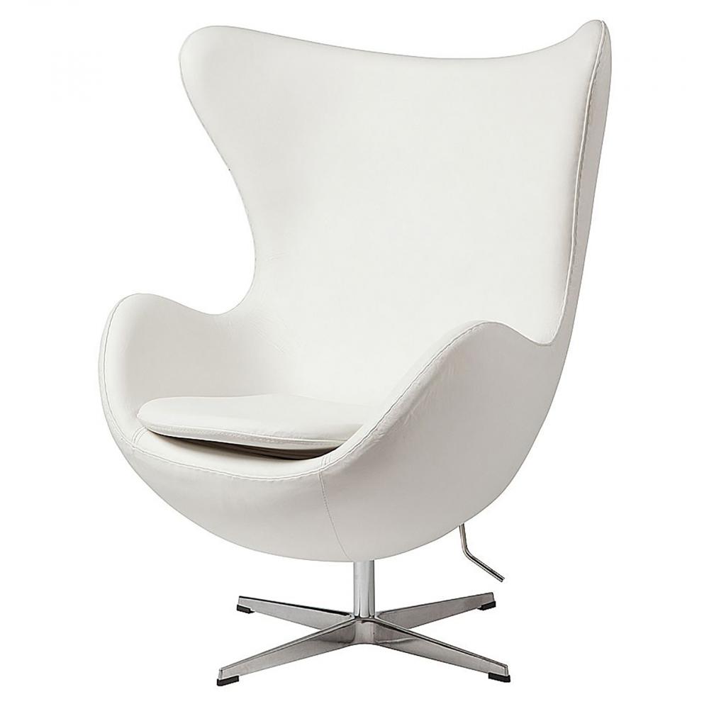 Кресло Egg Chair Белая Кожа Класса Премиум, Кресла<br>Кресло Egg Chair (Яйцо) было создано в 1958 году датским дизайнером Арне Якобсеном специально для интерьеров отеля Radisson SAS в Копенгагене. Кресло обладает исключительной привлекательностью и узнаваемостью во всем мире, занимает особое место в ряду культовой дизайнерской мебели XX века. Оно имеет экстравагантную форму и неординарное исполнение, что позволило ему стать совершенным воплощением классики нового времени. Кресло Egg Chair, выполненное в форме яйца, подарит огромное множество положительных эмоций и заставляет обращать на него внимание. Оно непременно задаёт основу для дизайна того или иного помещения. Прочный каркас из стекловолокна, обтянутый натуральной кожей класса Премиум белого цвета, закрепленный на ножке из нержавеющей стали, гарантирует долгий срок службы и устойчивость. Купите великолепную реплику кресла Egg Chair — изготовленное из высококачественных материалов, оно понравится многим любителям нестандартного видения обыденных и, притом, качественных вещей.<br><br>Цвет: Белый<br>Материал: Кожа, Поролон, Металл<br>Вес кг: 37<br>Длинна см: 81<br>Ширина см: 87<br>Высота см: 110