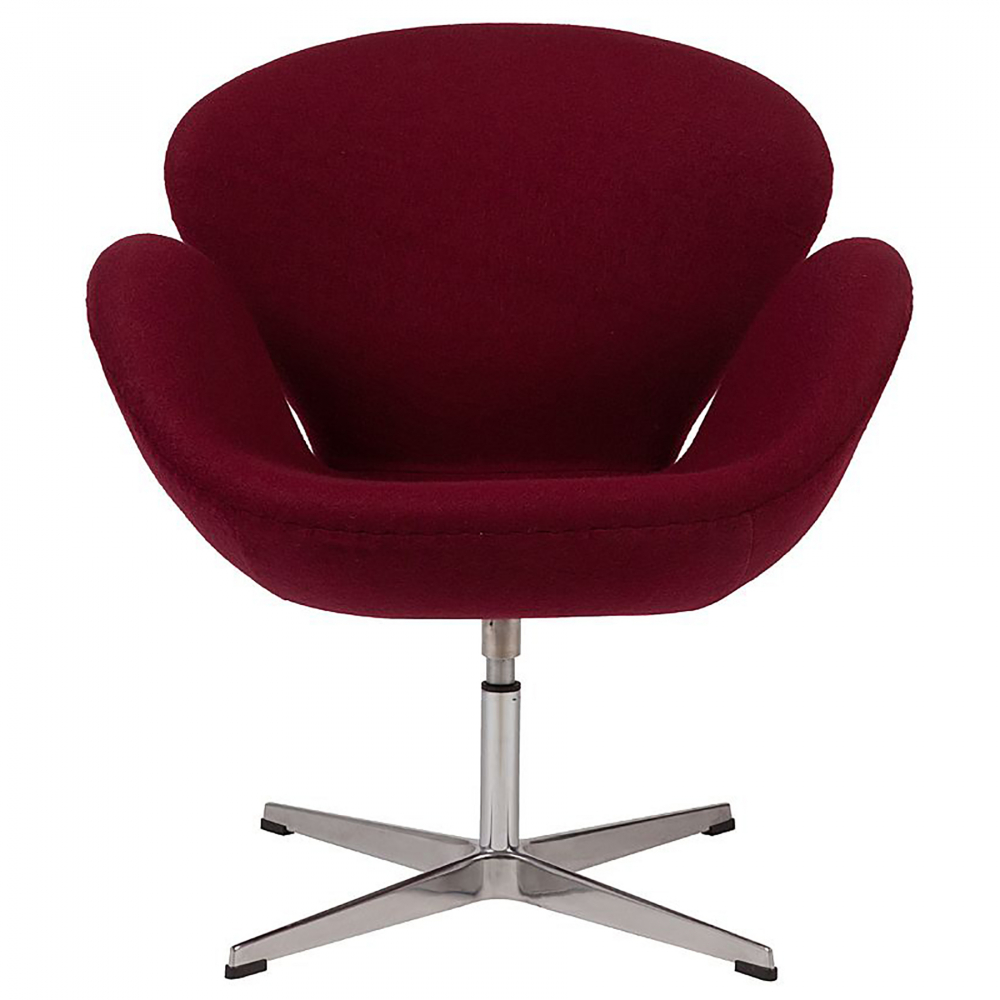 Кресло Swan Chair Бордовая ШерстьКресла<br>Кресло Swan Chair (Лебедь), созданное датским <br>дизайнером Арне Якобсеном (Arne Jacobsen) в 1958 <br>г., стало настоящей сенсацией для своего <br>времени, было достаточно инновационным, <br>т.к. вместо прямых линий предпочтение было <br>отдано округлым формам. Мебель этого дизайнера <br>давно вошла в историю мебелестроения и <br>стало шедевром, мировым достоянием искусства. <br>Элегантная анатомическая форма и небольшие <br>размеры делают его привлекательным элементом <br>оформления любого интерьера и по сей день. <br>Небольшое, но очень уютное кресло смотрится <br>современно и украсит гостиную или рабочий <br>кабинет. Идеально сочетается с предметами <br>мебели в стиле хай-тек. Каркас кресла представляет <br>собой раковину из стекловолокна, покрытую <br>пенополиуретаном. Сидение крепится на вращающемся <br>крестообразном основании из нержавеющей <br>стали. Обивка кресла может быть сделана <br>из шерстяной ткани бордового цвета. В нашем <br>магазине можно приобрести отличную реплику <br>кресла Swan Chair в нескольких вариантах обивки.<br><br>Цвет: Бордовый<br>Материал: Шерсть, Металл<br>Вес кг: 25<br>Длина см: 71<br>Ширина см: 70<br>Высота см: 78