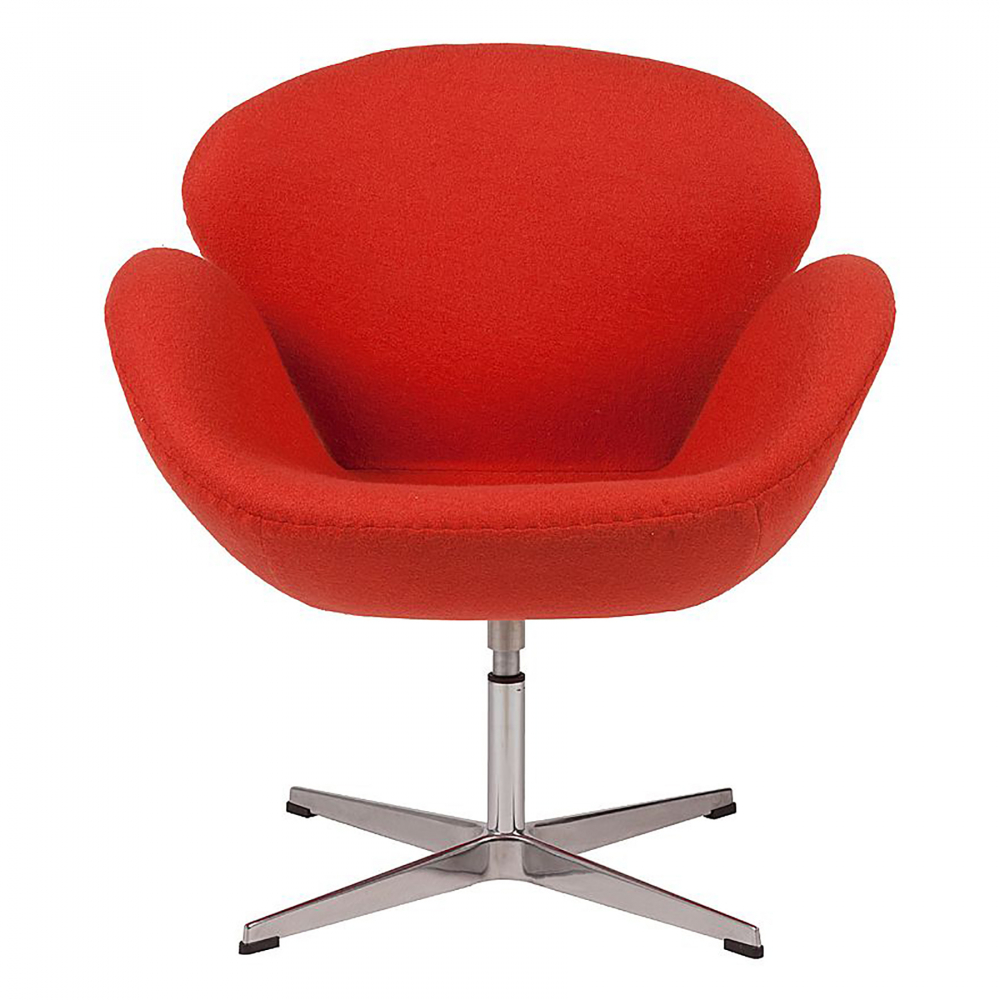 Кресло Swan Chair Алая ШерстьКресла<br>Кресло Swan Chair (Лебедь), созданное датским <br>дизайнером Арне Якобсеном (Arne Jacobsen) в 1958 <br>г., стало настоящей сенсацией для своего <br>времени, было достаточно инновационным, <br>т.к. вместо прямых линий предпочтение было <br>отдано округлым формам. Мебель этого дизайнера <br>давно вошла в историю мебелестроения и <br>стало шедевром, мировым достоянием искусства. <br>Элегантная анатомическая форма и небольшие <br>размеры делают его привлекательным элементом <br>оформления любого интерьера и по сей день. <br>Небольшое, но очень уютное кресло смотрится <br>современно и украсит гостиную или рабочий <br>кабинет. Идеально сочетается с предметами <br>мебели в стиле хай-тек. Каркас кресла представляет <br>собой литую раковину из стекловолокна, <br>покрытую пенополиуретаном. Сидение крепится <br>на вращающемся крестообразном основании <br>из нержавеющей стали. Обивка кресла сделана <br>из шерстяной ткани алого цвета. В нашем <br>магазине можно приобрести отличную реплику <br>кресла Swan Chair в нескольких вариантах обивки.<br><br>Цвет: Красный<br>Материал: Шерсть, Металл<br>Вес кг: 25<br>Длина см: 71<br>Ширина см: 70<br>Высота см: 78