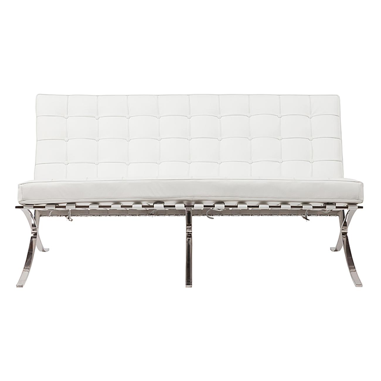 Купить Диван Barcelona Двухместный Белый Кожа Класса Премиум в интернет магазине дизайнерской мебели и аксессуаров для дома и дачи
