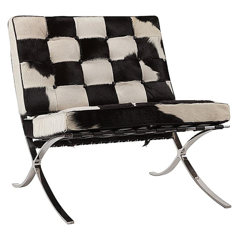 Кресло Barcelona Chair Чёрно-белая Кожа Пони Класса Кресла<br>Кресло Barcelona было создано в 1929 году австрийским <br>архитектором Людвигом Мисом ван дер Роэ <br>и с тех пор считается настоящим шедевром <br>дизайна 20-го века, по праву занимает лучшие <br>места в интерьерах. Металлический каркас <br>и ножки, сделанные из нержавеющей или хромированной <br>стали, составляют единую конструкцию, что <br>обеспечивает его прочность. Обивка изготавливается <br>из высококачественной натуральной чёрно-белой <br>кожи пони, состоит из отдельно сшитых квадратов <br>с кантом по швам, скроена и сшита вручную. <br>Сиденье и спинка украшены декоративной <br>стежкой «капитоне». Есть также другие варианты <br>расцветки. Предлагаем купить в нашем магазине <br>замечательную реплику кресла Barcelona — оно <br>идеально подойдет для современного стиля <br>интерьера, придав ему строгий шик и элегантность.<br><br>Цвет: Чёрный, Белый<br>Материал: Кожа, Поролон, Металл<br>Вес кг: 28<br>Длина см: 76<br>Ширина см: 76<br>Высота см: 76