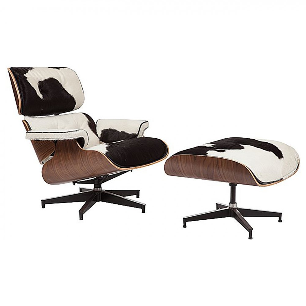 Фото Кресло Lounge Chair & Ottoman Черно-белая Кожа Пони  Класса Премиум. Купить с доставкой