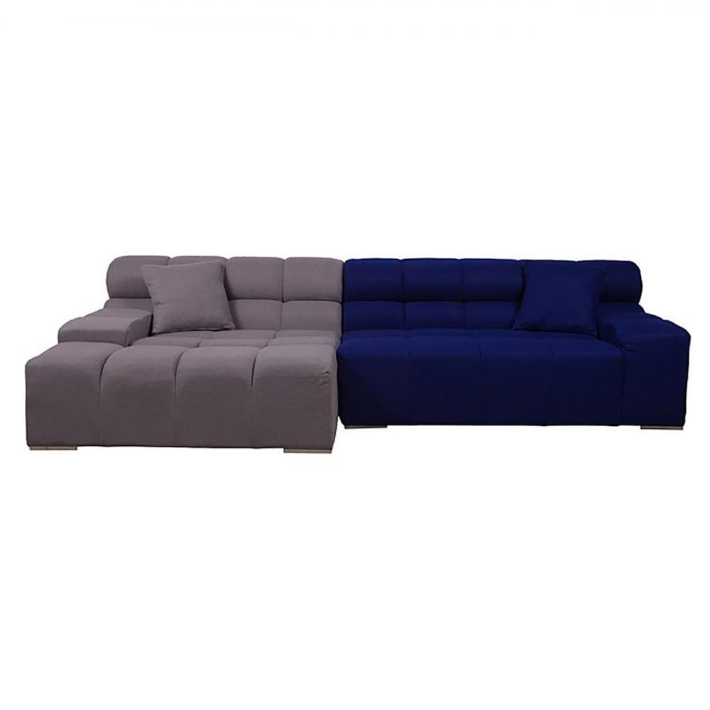 Диван Tufty-Time Sofa Серо-синяя ШерстьДиваны<br>Диван Tufty-Time Sofa выполнен на деревянном каркасе, <br>состоит из двух разных половинок, отличающихся <br>по цвету (серый и синий) и по ширине, с плоскими <br>подлокотниками, наполнитель — мебельный <br>поролон, с одной декоративной подушкой. <br>Диван Tufty-Time Sofa словно бросает вызов всему <br>симметричному и пропорциональному. Два <br>элемента можно использовать совместно, <br>также есть возможность «разделить» секции <br>и расставить их по своему вкусу. Обивка <br>угловой части отделана серойй кашемировой <br>тканью. Широкий блок представлен в синем <br>варианте. Диван обладает и непревзойденным <br>удобством, долговечностью и надежностью, <br>изготовлен из абсолютно безопасных натуральных <br>материалов. Дизайн дивана от Патрисии Уркиола <br>(Patricia Urquiola)! Удобный аксессуар для современного <br>стиля гостиной.<br><br>Цвет: Серый, Синий<br>Материал: Шерсть, Дерево, Металл<br>Вес кг: 69<br>Длина см: 286<br>Ширина см: 145<br>Высота см: 76