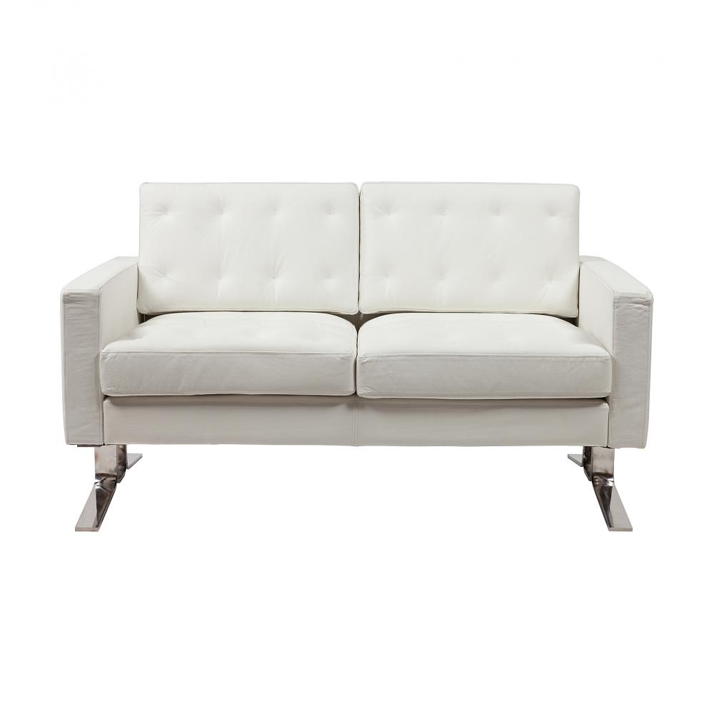 Диван Kennedee Белая Кожа Класса Премиум, DG-F-SF359  Нестандартное сочетание классической  формы основной части дизайнерского двухместного  дивана Kennedee и оригинальной формы его ножек  удивляет и заставляет обращать на него  внимание. Нижняя часть дивана выполнена  из прочного металла и создает образ того,  что основная часть будто бы отдельно парит  в воздухе. Приятная текстура обивки в сочетании  с надежной металлической опорой делают  этот дизайнерский диван не только невероятно  стильным, но также и функциональным, и очень  удобным в использовании. Шикарный двухместный  диван Kennedee впишется в любой интерьер. Кожа  и металлическая основа — удобно, надежно,  долговечно!