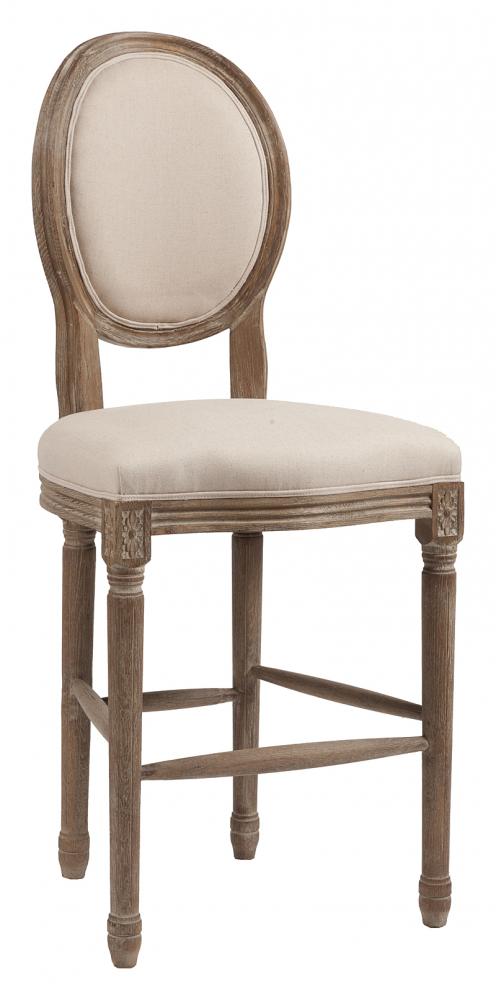 Барный стул Vintage French Round Кремовый Лен