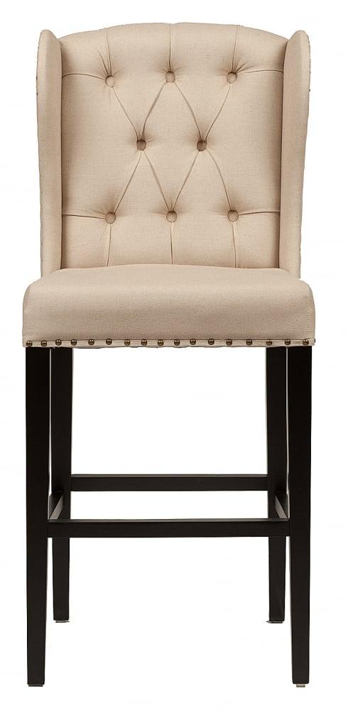 Барный стул Maison Barstool Кремовый Лен<br><br>Цвет: Бежевый<br>Материал: Ткань, Поролон, Дерево<br>Вес кг: 14<br>Длина см: 46<br>Ширина см: 51<br>Высота см: 112
