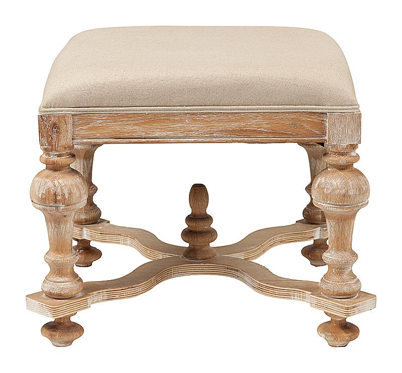 Купить Табурет 17th C. Baroque Ottoman Кремовый Лен в интернет магазине дизайнерской мебели и аксессуаров для дома и дачи