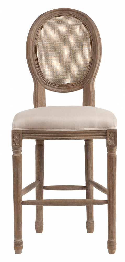 Фото Барный стул Vintage French Round Cane Back Кремовый Лен. Купить с доставкой