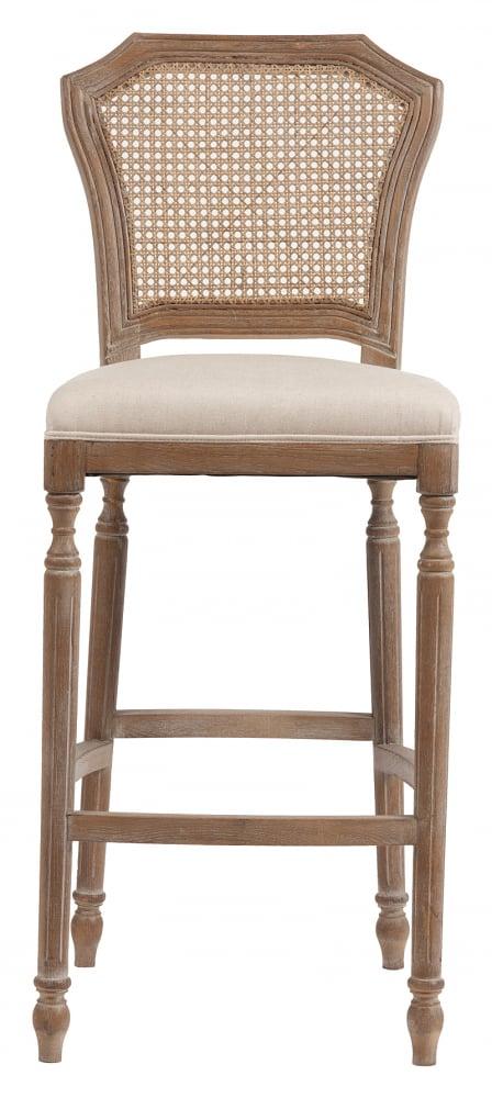 Барный стул Vintage French Nailhead Cane Back Кремовый Лен