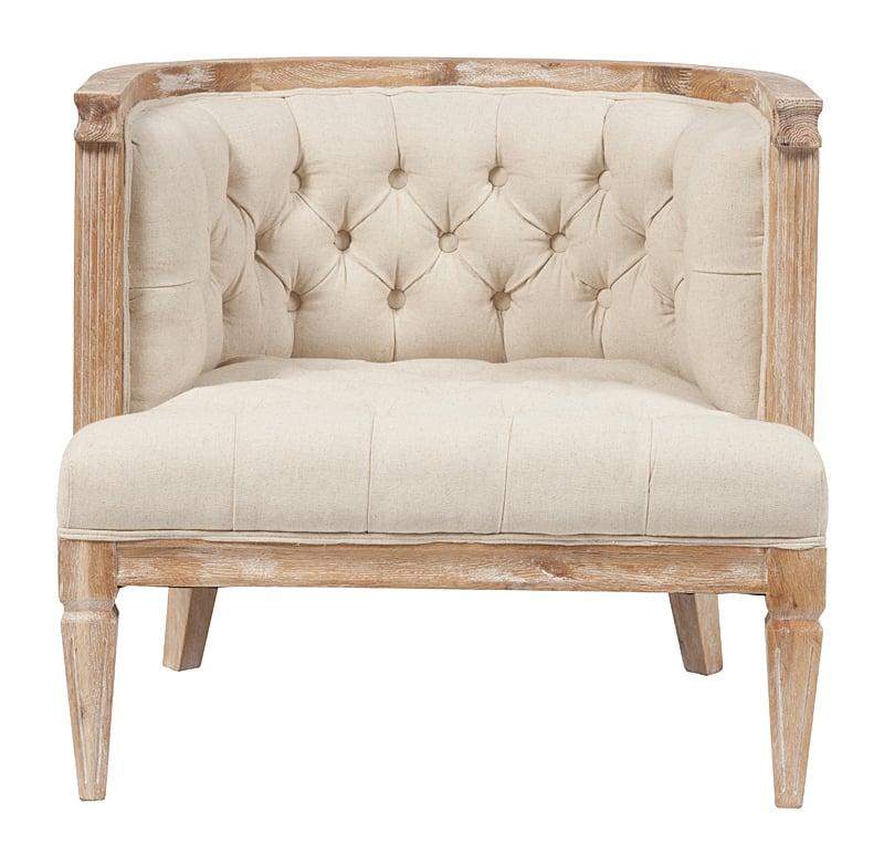 Кресло Westwood Contemporary Chair Бежевый ЛенКресла<br>Кресло Westwood Contemporary отлично впишется впишется <br>как в классический, так и в современный <br>интерьер. В этом довольно широком кресле, <br>изготовленном из прочной древесины дуба, <br>будет приятно отдыхать любой леди или джентльмену, <br>решившим скрыться от великосветской суеты <br>в провинциальных пейзажах. Оригинальный <br>дизайн полукруглой спинки, приятная пастельная <br>гамма обивки и аккуратные украшения в виде <br>шляпок мебельных гвоздей позволят такому <br>креслу стать гармоничной частью гостиной <br>или будуара в стиле Прованс.<br><br>Цвет: Бежевый<br>Материал: Ткань, Поролон, Дерево<br>Вес кг: 12<br>Длина см: 78<br>Ширина см: 73<br>Высота см: 73