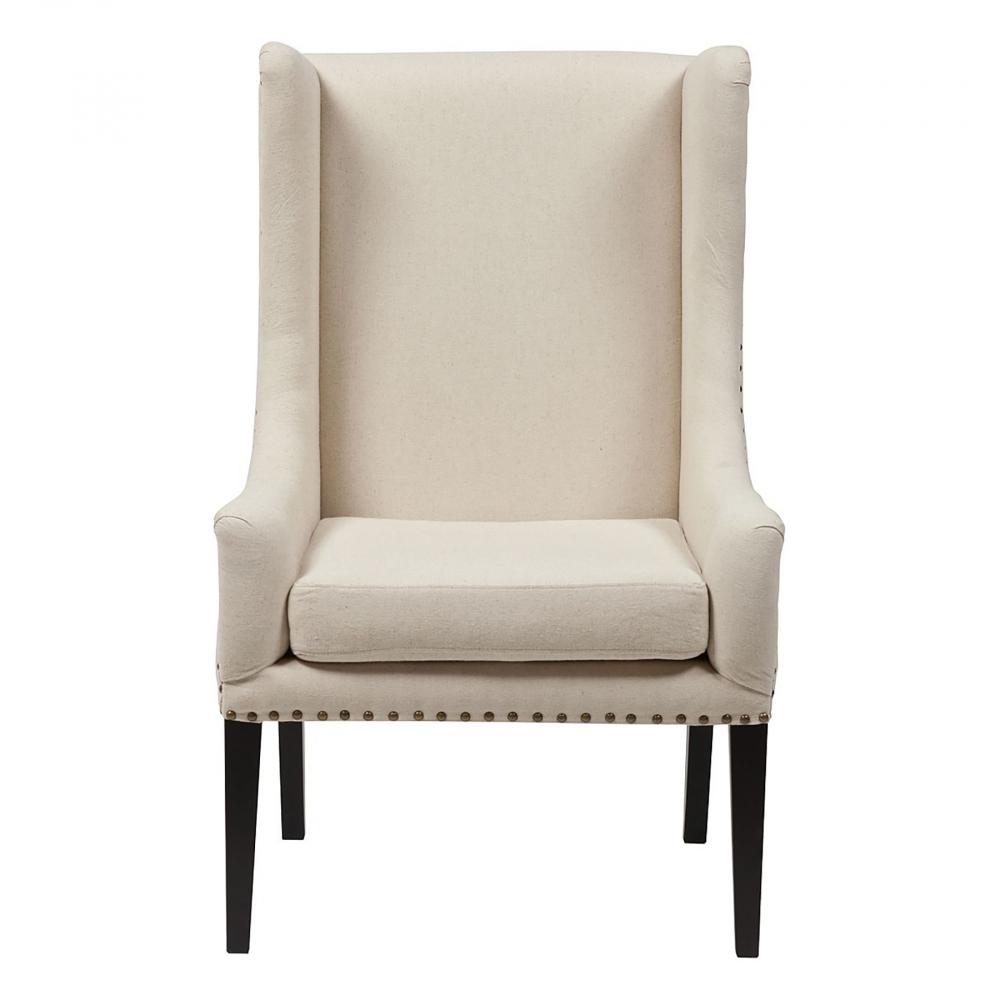 Кресло Nailhead Fabric Armchair Белый ЛенКресла<br>Высокое «ушастое» кресло из древесины <br>берёзы на волнистых резных ножках. Снаружи <br>обито светлым льном. С обратной стороны <br>спинки вдоль швов идут тонкие линии мебельных <br>гвоздиков. Внутренняя обивка выполнена <br>из льна глубокого коричневого цвета. Боковины <br>оформлены технической тканью, придающей <br>креслу легкое очарование незавершенности <br>и современный эклектичный акцент. Прекрасно <br>будет смотреться в сочетании с большим <br>обеденным столом.<br><br>Цвет: Белый<br>Материал: Ткань, Поролон, Дерево<br>Вес кг: 15<br>Длина см: 66<br>Ширина см: 72<br>Высота см: 112